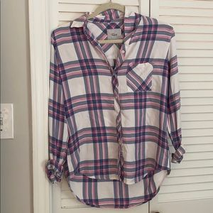 Blue and pink plaid Rails button down